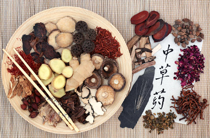 chinese herbs and acupuncture needles